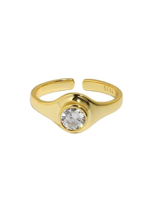 18K gold [No. 14 adjustable] 925 Sterling Silver Rhinestone Geometric Minimalist Band Ring